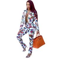 seksi iş kadın moda toptan satış-Sonbahar Rahat Moda Kadınlar Blazer Suit Zarif Baskı Çiçek Business Suit Seksi Yüksek Bel Sıska Kalem Pantolon Ücretsiz Kargo