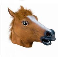 конская маска без латекса оптовых-Жуткий лошадь Маска глава Хэллоуин костюм театр опора новинка латексная резина бесплатная доставка