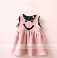 Wholesale Cotton Gray Fabrics Party - 2016 Autumn Winter Girls Dress Sleeveless Smile Face Suede Fabric Princess Party Dressy Girl Dresses K7893