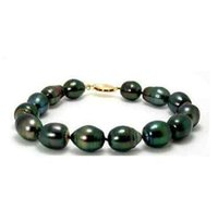 Wholesale tahitian pearl strands - Gorgeous 10-11mm tahitian peacock green pearl bracelet 7.5-8inch 14K gold clasp