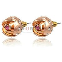 Wholesale Jewelry Gemstone Stud Vintage - Yoursfs Fashion Wedding Earrings 18 K Rose Gold Plated Rose Flower Bud Stud Gemstone Earrings Palace for Women Vintage Jewelry Boucle Gift