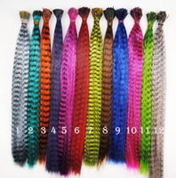 Wholesale Grizzly Synthetic - 16 Inch Synthetic Grizzly Rooster Feather Hair Extension Feathers Extensions