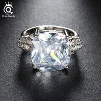 Wholesale Wholesale Ct Diamonds - Luxury 8 Ct Cushion Cut Simulated Diamond Women Ring Big Size Stone Ring for Ladies 3 Layer Platinum Plated OR100