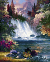 Wholesale Nude Landscaping - New DIY 5D Mosaic Diamond Painting Cross Stitch kits landscape waterfall full Resin round Diamonds Embroidery needlework Home Decor yx297
