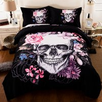 Wholesale Queen Quilts Bedding - New 3D Creative Skull Duvet Cover Set 3PC Bedding Set Quilt Cover Pillowcase Twin Full Queen King Size