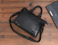 Wholesale Genuine Laptops - New Genuine Leather 14inch Laptop Crossbody Men Messenger Bags Leather Office Bags Document Briefcase Travel Bags
