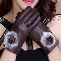 Wholesale Cashmere Rabbit Gloves - 2017 new luxury PU leather gloves ladies autumn winter rabbit fur hair ball cashmere thick windproof riding gloves high quality