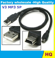 600pcs MP3 / MP4 / MP5 Cable V3 mini USB un varón a B mini 5 Pin Cable de sincronización D171 Usb a 5p PARA los teléfonos móviles de DV 90CM dhl libre