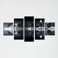 Wholesale spray paint images - Multi Panel Black Wall Decoration Inverted Image Canvas Painting Landscape Oil Painting Art Picture Home Decoration Canvas Unframed