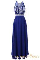 Wholesale Evenig Gowns - Honey Qiao Real Photoes Prom Dresses Royal Blue Crystal Cheap Evenig Gowns Vestidos De Novias Bridesmaids Dress Faithfully