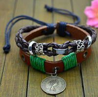 Wholesale ancient coin charms for sale - Group buy Coin Leather Multilayer Bracelets Bangle For Men Ancient Style Brown Color Alloy Jewelry Christmas Gifts Hot