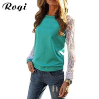 Wholesale Tee Shirt Jumper Lace - Wholesale- Rogi Blusas 2017 Fashion Women Long Sleeve Lace Patchwork Blouses Casual Tunic Tee Shirts Jumper Tops Poleras Mujer Plus Size