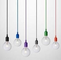 modern led tavan armatürleri toptan satış-Sanat Dekor Silikon E27 Sarkıt Tavan ampul Tutucu Asılı aydınlatma Armatür bankası Soket Modern silika jel retro Renkli ışık