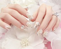 Wholesale Fake Bling - Wholesale- Wedding design silver Sparking Pearls 3D false nails set 24PCS UV GEL Nail Polish Finished Fake Nails Full Cover bling nail tips