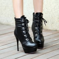 Wholesale Ankle Booties Thick Heels - Free shipping High Fashion ladies short boots booties thin high heel thick platform booties round toe lace up lady cheap fashion boot 309-13