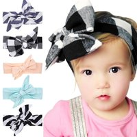Wholesale Plaid Hair Bows - 110*5.5CM Baby Girls DIY Headbands Big Bows Kids Cotton Knotted Plaid Bunny Ear Hairbands Children Striped Hair Accessories Headdress KHA55