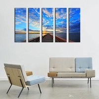 Peintures À La Maison Contemporaines Pas Cher-Pont sous Sunrise Modern Giclee Canvas Prints Artwork 5 Panels Contemporary Seascape Paintings on Canvas Art mural pour décorations à la maison
