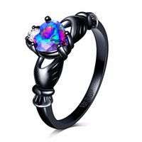 Wholesale Claddagh Bands - Rainbow Opal Claddagh Female colorful Heart Ring Fashion Black 18K Gold Filled Vintage Wedding Rings Women anillo