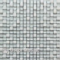Wholesale glass mosaic floor tiles resale online - white glass mosaic tile mixed stones for interior house decoration bathroom and kitchen wall tile floor tile mm thickness