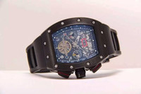 Wholesale Massa Flyback - Wholesale Luxury Men Mechanical Watch Felipe Massa Flyback RM011 Big Face Transparent Rubber Dive Swiss Mens Automatic Tourbillon Wristwatch