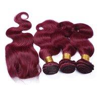 sıcak güzellik insan saçı toptan satış-Sıcak Satış Güzellik Renk # 99j Ile Şarap Kırmızı Saç Örgüleri Dantel Kapatma 4 Adet / grup 9A Bordo Vücut Dalga İnsan Saç