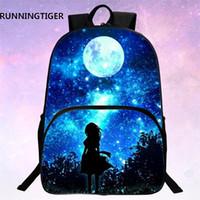 Wholesale print galaxy backpack - Runningtiger Children School Bags Galaxy  Universe  Space 24 Colors Printing Backpack For Teeange Girls Boys Star Schoolbags