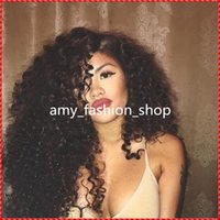Wholesale Long Curly Heavy Wig - Heavy Density Human Hair Wigs Kinky Curly Full Lace Wig Glueless Front Lace Wigs Virgin Brazilian Human Hair With Bleached Knots