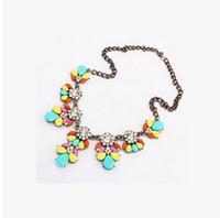 Wholesale Jewelry Flower Bib - Bib Choker Necklace Fluorescence Crystal Gem Flower Drop For Women Girl Jewelry Statement Necklace Bib Choker