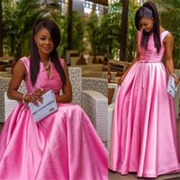 Wholesale Dress Taffeta Floor Length - Pink V-neck Party Dress with Sash by Taffeta Elegant Floor Length 2016 Abendkleider Long sleeveless Evening Dress A-Line Vestidos De Festa