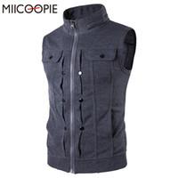 Wholesale Wholesale Men S Waistcoats - Wholesale- 2017 New Men's Vest Slim Sleeveless Men Casual Vests Zipper Hoodie Jacket Waistcoat Stand Collar Mens Jackets Chaleco Hombre