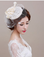 Wholesale Lady Elegant Hair - 2016 Vintage Wedding Bridal Hat Fascinator Handmade Linen Flower Birdcage Veil Lady Elegant Banquet Beige Tulle Hair Accessories