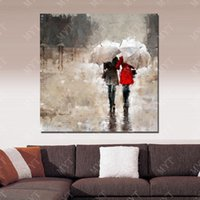 Wholesale framed oil painting girls - Umbrella Beautiful Girls Wall Picture for Living Room Hand made Picture on Wall Abstract Oil Painting on Canvas No Framed