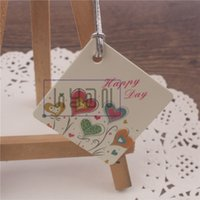 Wholesale Red Wedding Tags - 'Happy Day' Wedding box decoration tags with white strings, Packing hang tags, 500pcs lot, Red Wine Decoration Labels, free shipping