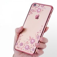 Wholesale Yellow Plastic Flowers - Fashion Flower Rhinestone Phone Case for iphone 7 7 Plus 6s Samsung Galaxy S7 S6 Note7 Clear TPU Diamond Shining Plating Cases Cover