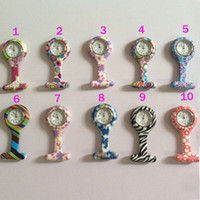 Wholesale New Follower - Nurse Pocket Watch Candy Colors Zebra Leopard Prints Soft Band Brooch Silicone 10 Patterns Follower Airming