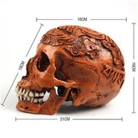 decorações de halloween de qualidade venda por atacado-Crânio humano Resina Réplica Médico Modelo Lifesize Halloween Decoração de Casa de Alta Qualidade Crânio Craft Decorativo