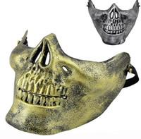 skelettmaske airsoft großhandel-Spaß Paintball PVC Airsoft Masken Scary Skelett Schädel Maske Schutz CS Spiele Halloween Karneval Neujahr Hochwertigen 5 Farben