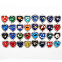 Wholesale Glasses For Football - Hot selling 32 Mixs Heart White Crystal Glass Football Sports Team Pendant Hanging Dangle Charms for Necklace Bracelet