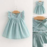 Wholesale Dot Vest Dress Korean Girls - 2016 New Brand Summer Baby Girls Vest Dress Korean Cute Polka Dot Solid Bow Pleated Dress Female Child Sleeveless Clothing Y43