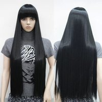 Wholesale Straight Bang Long Curly Wig - 100% Brand New High Quality Fashion Picture full lace wigs>>100cm Fashion Long Wig Black Straight Smooth Hair Costume Neat Bang Full Wigs