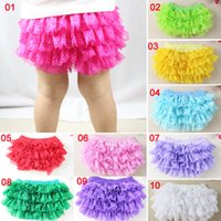 Wholesale Green Baby Bloomers - Hot sale newborn baby clothes kids bloomers Baby Solid Lace Bloomer Cheap Baby Bloomer Infant ruffle shorts wholesale