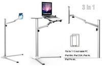 Wholesale Floor Stand Holder Tablet - UP-8 Multifunction 3in1 Computer Floor Stand for All Laptop Tablet PC Smartphone Holder Height Angle Adjustable with Mouse Tray
