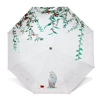 Em Stock Guarda-chuvas Sunny Rainy Umbrella Custom Mini Fresco Três Folding Cat Umbrella Sunscreen Criativo Sun Umbrella Wholesale