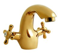 Wholesale Gold Plate Bathroom Mixer Tap - Dual Handle Faucets Ceramic Valve Core Taps Mixer ,Gold Vessel Bathroom Sink Faucet 2 Handle with Brass
