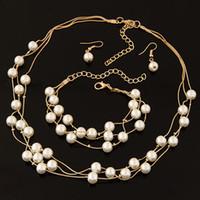 Wholesale Pearl Ball Pendant Bracelet - Hot Fashion Fine Accessories Jewelry Set Pearls Bead Ball Pendant Drop Dangle Earrings Statement Chokers Necklaces Charm Bracelets For Women