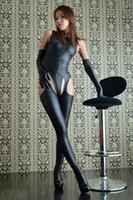 vücut catsuit kostümleri toptan satış-Bayan Seksi Wetlook Bak Açık Crotch Deri Body Suit ile Catsuit Seks Kölelik Yetişkin Fetiş Kuyruk Kostüm