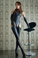 Wholesale Catsuit Zip - Womens Sexy Wetlook Look Catsuit with Open Crotch Leather Body Suit Sex Bondage Adult Fetish Queening Costume