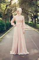 Wholesale Microfiber High Collar Shirts - Elegant Peach Muslim Prom Dresses High Neck Long Sleeve Applique Floral Formal Evening Gowns 2018 Belt vestito bambina bianco Dubai Abaya