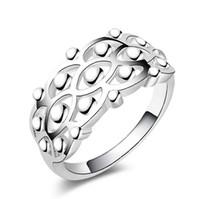 yeni parlak moda takı toptan satış-Klasik 925 Gümüş Vintage Yüzük Yeni 925-sterling-silver-jewelry Moda Taç Parlak Kare Yüzükler Kadınlar / Erkekler Takı