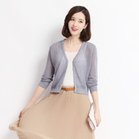 Wholesale sexy girl solid breast resale online - Summer new casual solid color lady s thin knitwear sexy girls hollow out knit cardigan